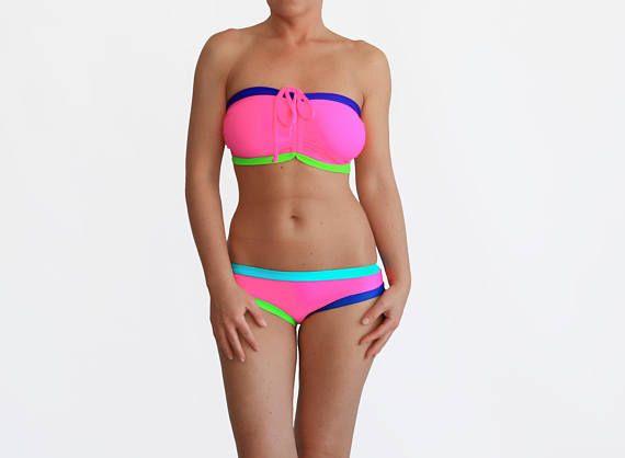 Colorful Bikini Bandeau Swim Color Block Bikini Plus Size
