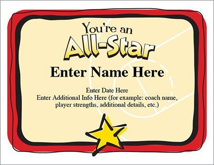 The All-Star Certificate for basketball - Template enables you to - naming certificates free templates