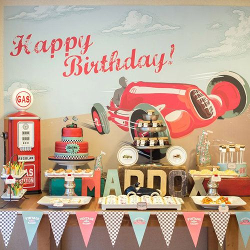 Vintage vroom! We're loving this classic race car birthday party!