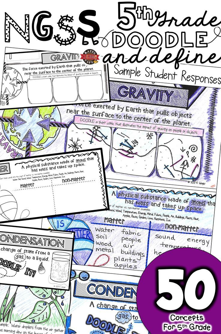 50 science words every 5th grader should know. 5th Grade NGSS vocabulary doodle notes.  Reinforce the Next Generation Science Standards with VISUAL VOCABULARY tools!  Great for bell-ringers, end of the year review, test prep and science journals.  Keep Clam and DOODLE ON! KCC Resources