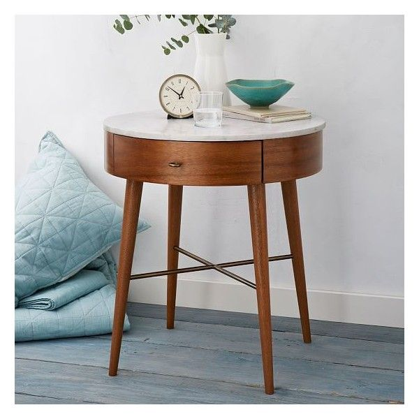 West Elm Penelope Nightstand, Large, Acorn/Marble ($449) ❤ liked on Polyvore featuring home, furniture, storage & shelves, nightstands, hardware furniture, marble nightstand, marble bedside table, drawer furniture and slim bedside table