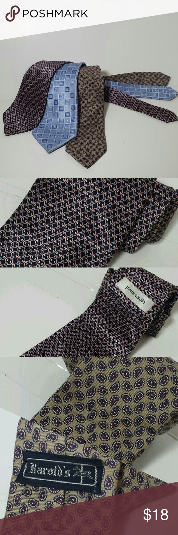 Three 100% Silk Ties w/ a Trump brand necktie Pierre Cardin Black backgroud with blue & pink print. 3.5W x 62L  Harrolds. Tan background with burgandy print. 3.5W x 52L  Donald Trump. Light blue backgound with navy blue and white print. 3.5W x 62L.  Sold separately $9 each Pierre Cardin Accessories Ties