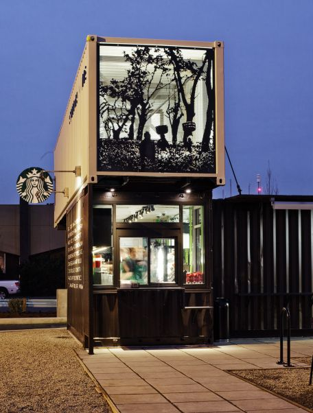 Starbucks outlet in Seattle created from four old shipping containers #upcycled #repurposed