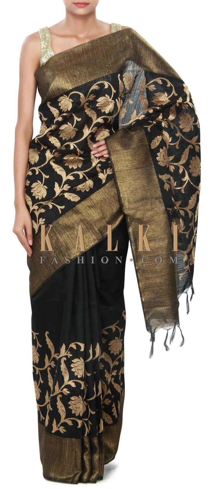 Buy Online from the link below. We ship worldwide (Free Shipping over US$100) Price- $79 Click Anywhere to Tag http://www.kalkifashion.com/black-saree-featuring-in-weave-embroidery-only-on-kalki.html