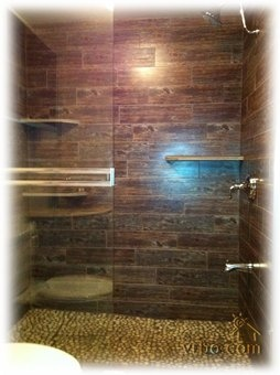 wood tile shower, = thats the tile I had in the mudroom on VH.
