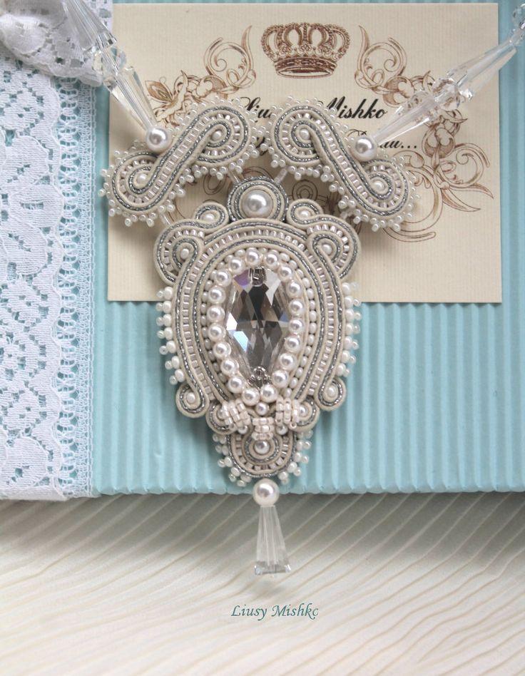 Wedding set. Wedding Jewellery. Bridal Jewelry Set. Soutache wedding jewellery. White Earrings. Decoration is very gentle, airy and easy! Wrong