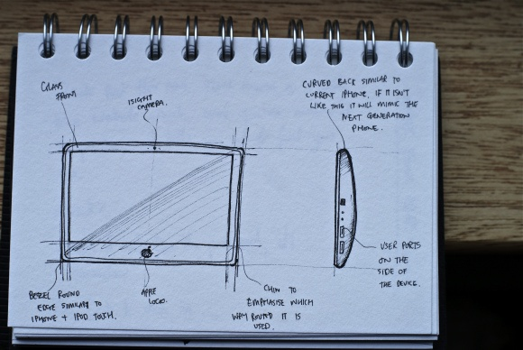 Jonathan Ive's sketch for the Apple iPad