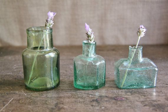 Antique Trio of Ink Bottles Green Hues - Instant Collection / Vignette For Sale or Hire on Etsy, $20.38