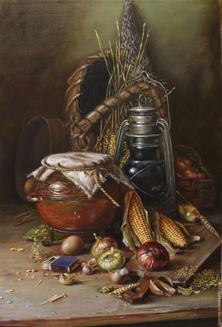 Репродукция оригинала 'Натюрморт с кукурузой'. Я покажу этапы создания копии натюрморта, с работы художника Николаева Юрия Викторовича. В своих работах, он прекрасно владеет светотенью. Цветовая гамма и деревенский стиль натюрморта. просто поражает меня. Все это и заставило повторить его полотно. Естественно, я не знаю 'руки' этого художника, поэтому пошел своим путем. Что из этого получится...…