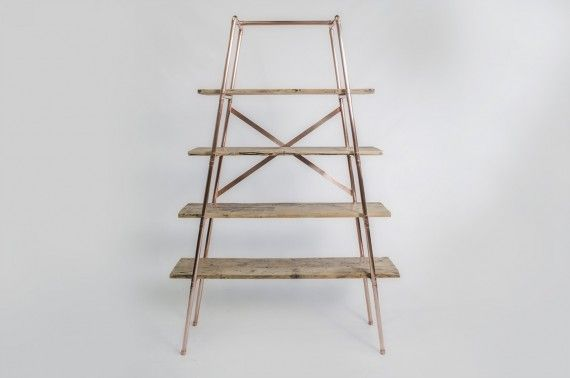 Large 4 shelf, free-standing, tapered, 22mm copper pipe unit