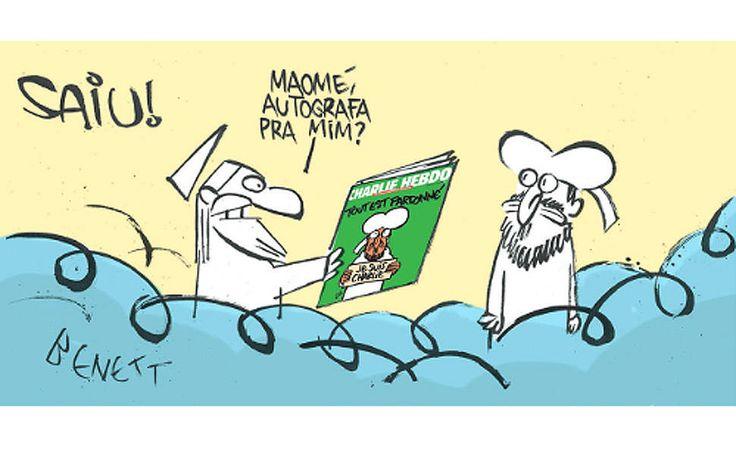 O cartunista Bennet homenageia a nova edição do 'Charlie Hebdo' que trás o profeta Maomé na capa - Brasile §
