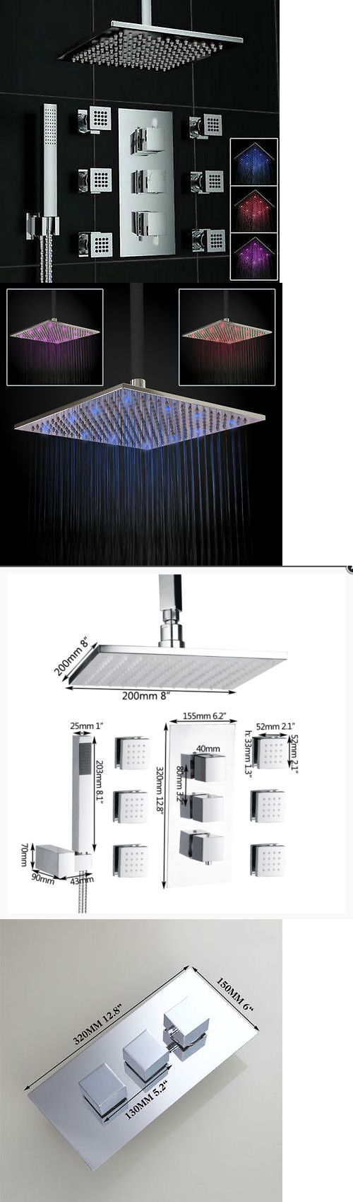 Massagers: Us Polish Relaxing Chrome Bathroom Shower Panel Set Rainfall Valve Mixer Tap BUY IT NOW ONLY: $155.99