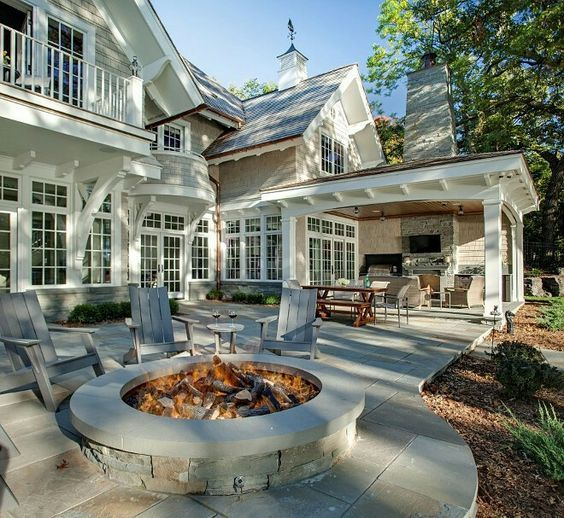 Backyard patio with fireplace