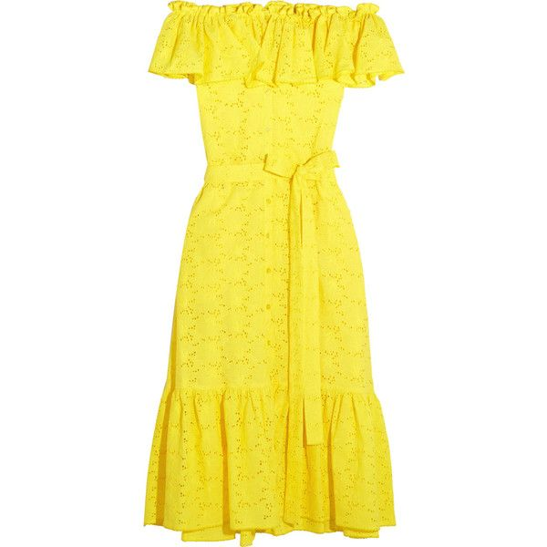 Lisa Marie Fernandez Mira off-the-shoulder broderie anglaise cotton... ($1,040) ❤ liked on Polyvore featuring dresses, yellow midi dress, off the shoulder dress, ruffle dress, yellow off the shoulder dress and yellow cotton dress
