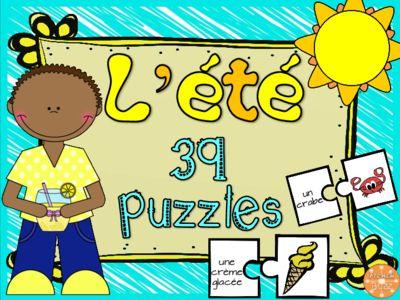 L'été - 30 puzzles/French Summer Puzzles from French Buzz on TeachersNotebook.com -  (7 pages)  - l'été été french summer puzzle vocabulaire mots images matching centre de littératie