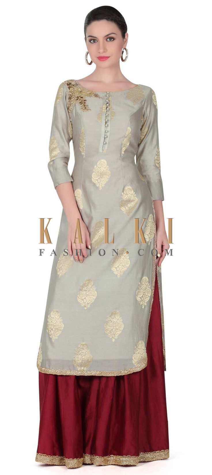Buy this Grey straight suit embellished in zardosi butti only on Kalki