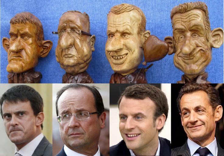caricatures politiques ,sculpture sur bois par benoît Beyaert