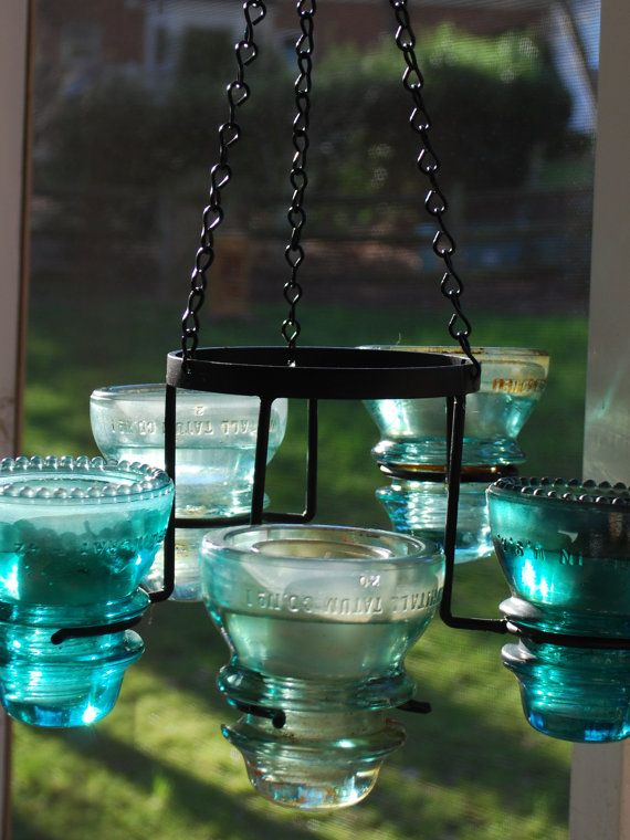 Repurposed Vintage Aqua Electric Insulator 5-Light Hanging Chandelier Candelabra