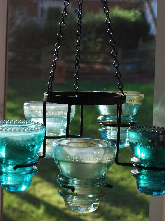 Repurposed Vintage Aqua Electric Insulator 5-Light Hanging Chandelier Candelabra