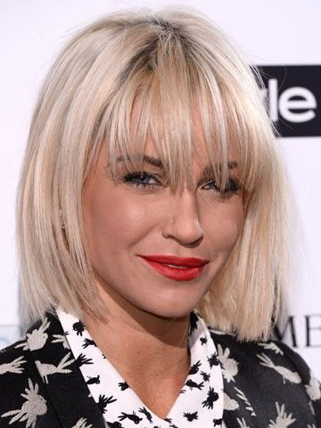 Sarah Harding showed off a choppy blonde bob hairstyle and wispy fringe at the InStyle and BAFTA party in London. The 32-year-old has worked a number of styles including a platinum pixie crop to long dark layers.