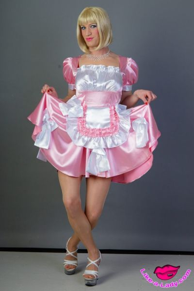 Lockable sissy dress satin pueppi like a lady com pinterest satin pink and dresses
