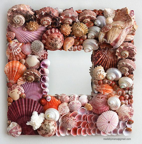 Handmade seashell mirror covered in exotic pink by madebymano, $695.00