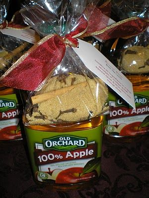 Mulled Cider fill a small cellophane bag with: 1/2 cup brown sugar 1 tsp. whole allspice 1 tsp. whole cloves stick of cinnamon Attach it to a 2 quart bottle of apple juice with note: Combine all ingredients in a large saucepan or crockpot & heat. Remove spices & serve warm with orange slices.