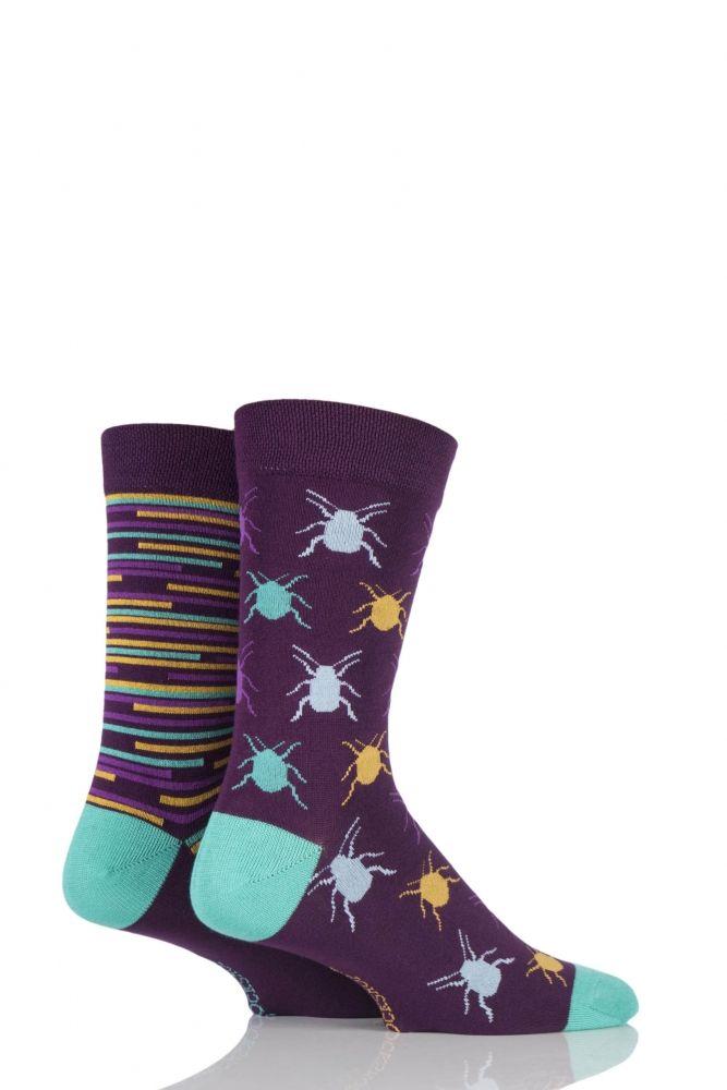 Mens 2 Pair SockShop Beetles Patterned and Striped Bamboo Socks £5.99