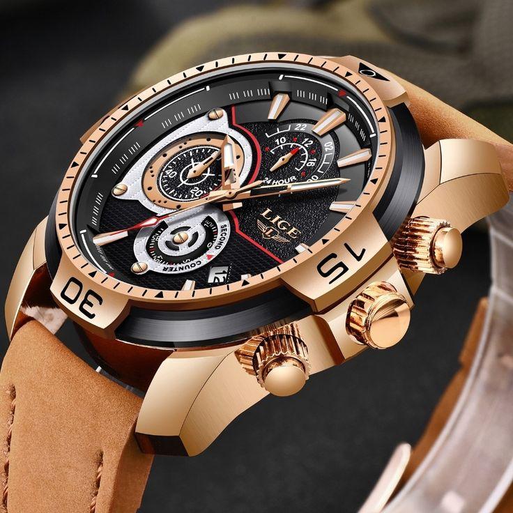 Quartz Luxury Watches | LIGE Leather Quartz Clock Masculino