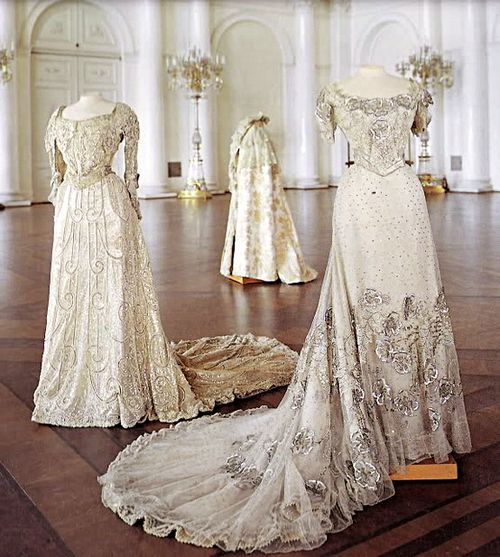 historyofromanovs: Two evening dresses and an evening cloak previously worn by Empress Maria Feodorovna of Russia, 1890s.
