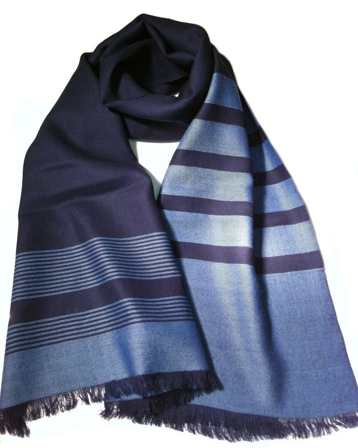 Classic Navy six stitcher scarf. Handwoven by Panchachuli Women Weavers!