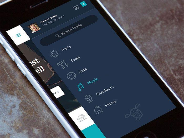 Tindie #Mobile Menu - Via http://www.themangomedia.com/blog/gorgeous-user-interface-design-inspiration/ @teammangomedia