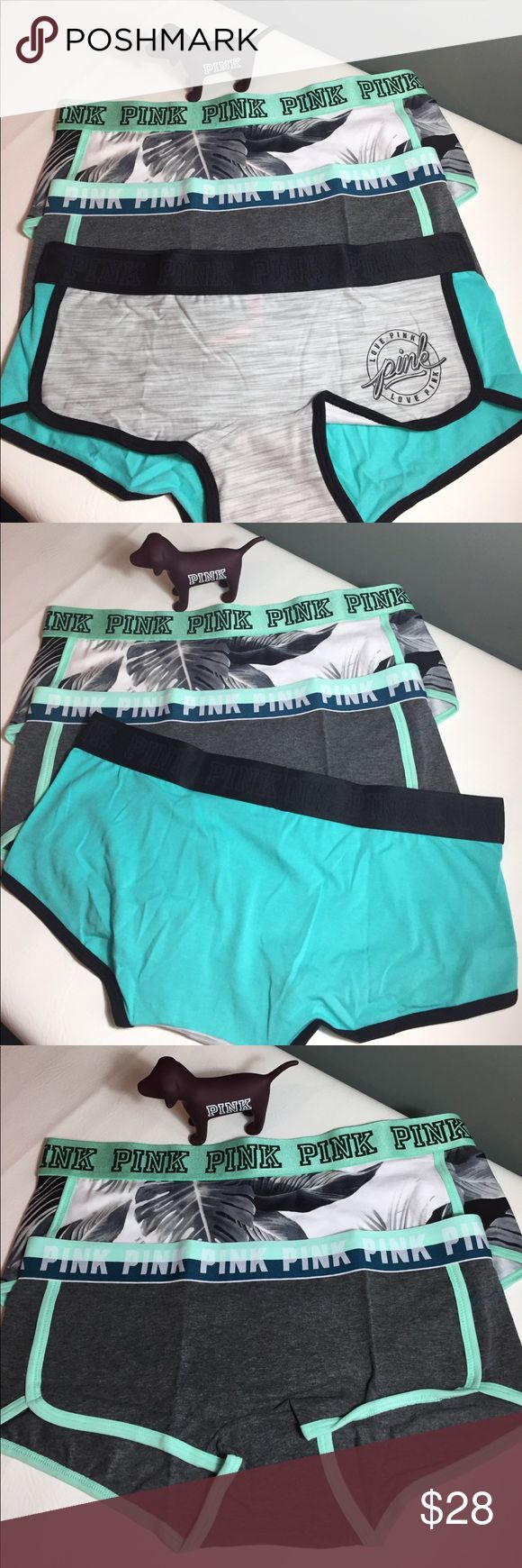 Bundle NWT VS Pink Logo BoyShorts Large New with Tags Victoria Secret Pink Logo Low Rise BoyShorts size large .   Fabric is 91% cotton and 8% elastane.   This bundle includes 3 pair of shorts as shown. PINK Victoria's Secret Intimates & Sleepwear Panties