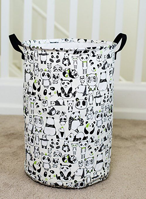 Amazon.com : Laundry Hamper Basket for Kids with Panda Prints for Boy or Girl's Room and Baby Nursery : Baby