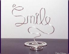 "CHD437 - Statueta mesaj ""Smile"" (Zambeste) (decor/casa/cadou/aniversare/marturie nunta-botez,mesaj pozitiv)"