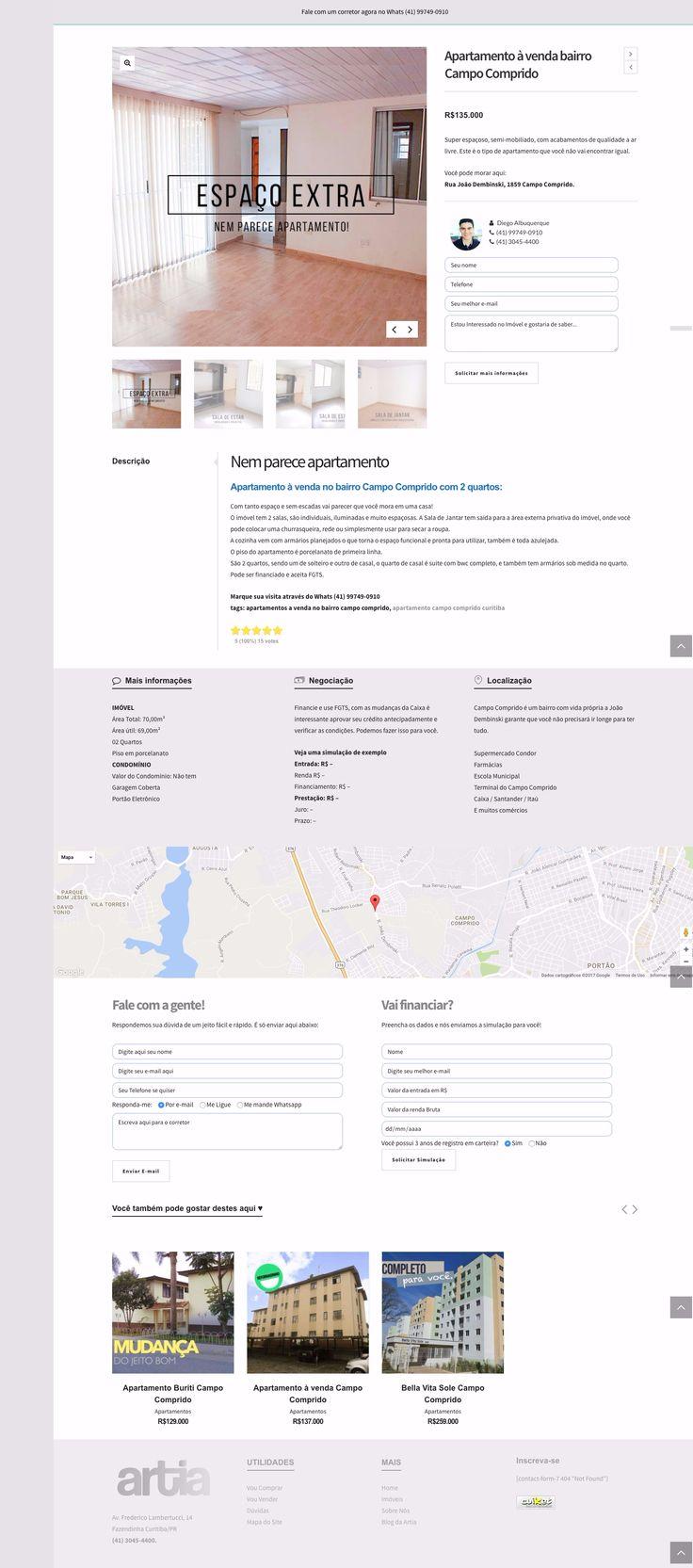 Página de Imóvel - Site Artia Imóveis.