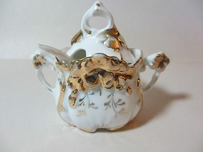 Vintage Fine Translucent Porcelain Mustard Pot / Jam Jar with Lid and Spoon