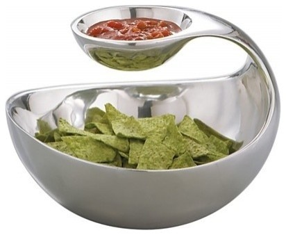 Nambe Scoop Server  for chips and sauce, sleek and modern and a space saver at Bloomingdales