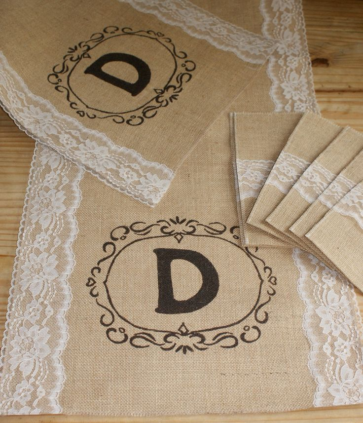 "Burlap and lace table runner. $45.00, via Etsy.  With an ""H"" of course:)"