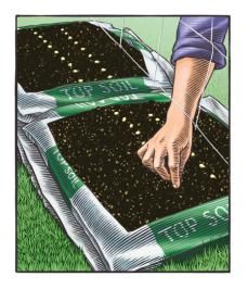 "You can do this with small bags to start seeds.  Cover with a clear storage tub (put some bricks on top to prevent blow-over) to create a mini-greenhouse.  After sprouting every few days, take a knife and ""cut squares"" around the plants.  This effectively keeps the roots contained to each plant.  When large enough or warm enough - plant each square into your regular garden."