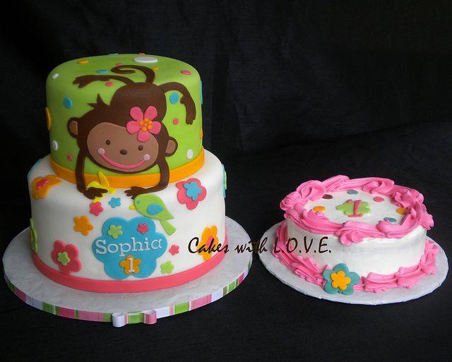 Monkey Love First Birthday by Cakes with L.O.V.E., via Flickr