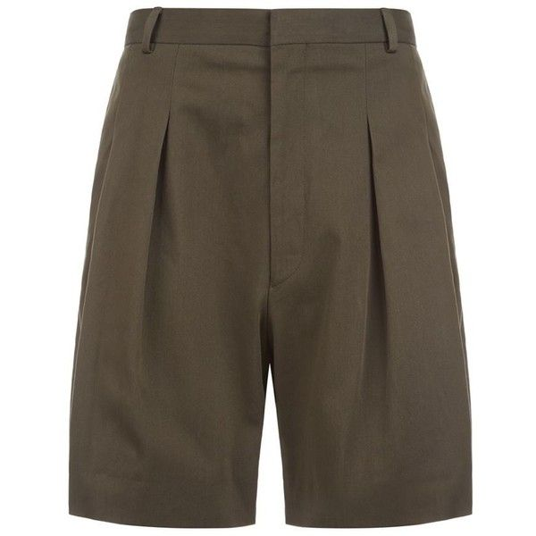 Givenchy Twill Shorts (5.985 ARS) ❤ liked on Polyvore featuring men's fashion, men's clothing, men's shorts, mens khaki shorts, mens pleated khaki shorts, mens pleated shorts, mens twill shorts and givenchy mens clothing
