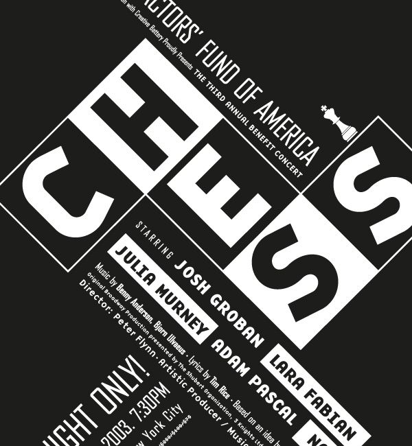 "Poster design for the broadway musical ""chess"", developed by Tarek Atrissi for ""Spotco"", a New York based advertising agency focusing on art and entertainment. The poster designed became the essenc..."