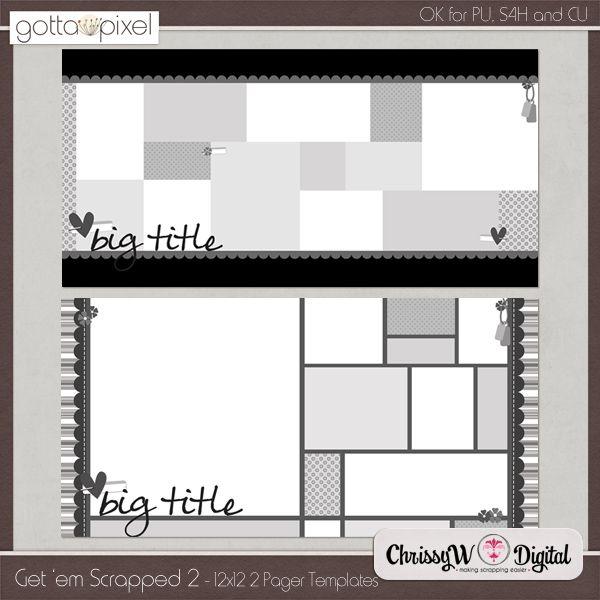 Get 'em Scrapped Set 2 - 12x12 Double Page Templates :: Gotta Pixel Digital Scrapbook Store  http://www.gottapixel.net/store/product.php?productid=10002744&cat=0&page=6