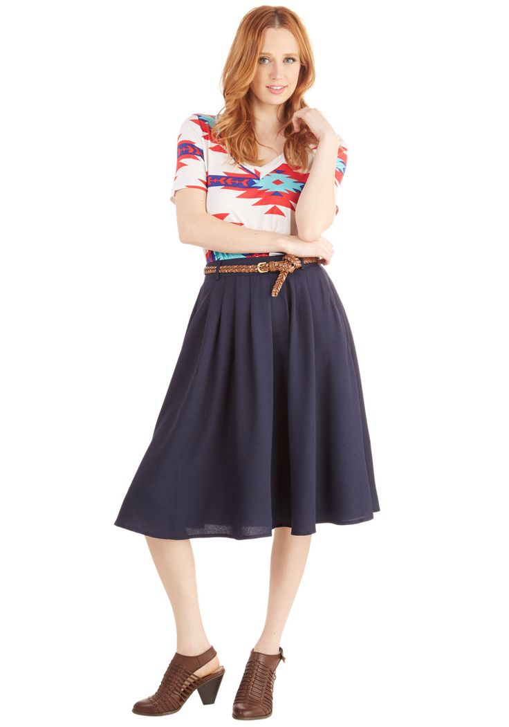 Breathtaking Tiger Lilies Skirt in Navy. This morning, a bundle of bright flowers was waiting at your door. #blue #modcloth