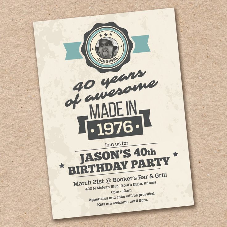 Photo 40th Birthday Invitation For Men Made In 1978 With
