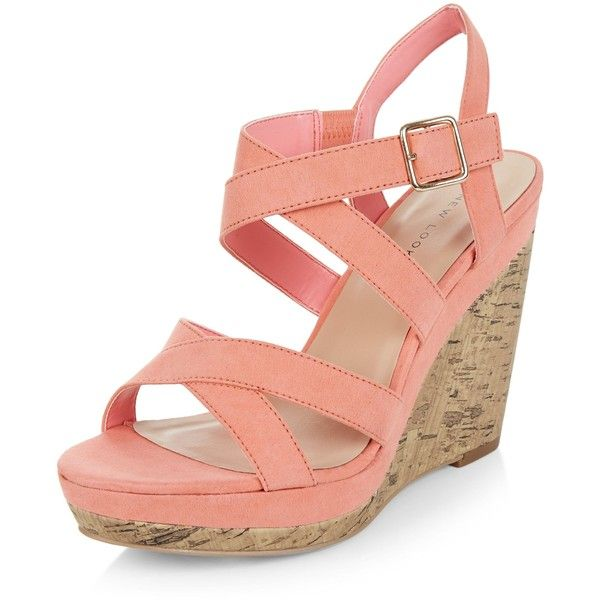 New Look Coral Suedette Cross Strap Wedges (85 PEN) ❤ liked on Polyvore featuring shoes, sandals, coral, wedge sandals, coral shoes, wedges shoes, cross strap sandals and wedge heel shoes