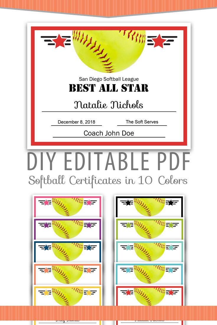 Editable PDF Sports Team Softball Certificate Award Template in 10 colors Letter Size Instant Download