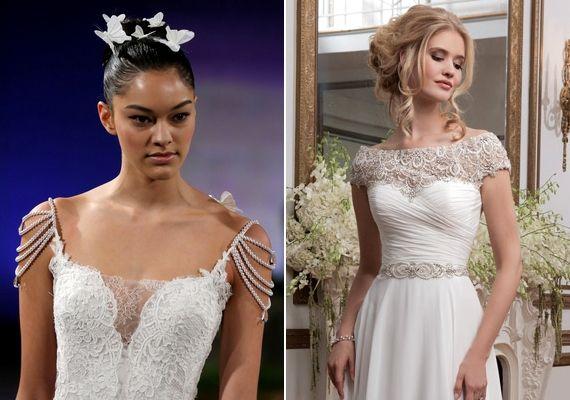 Az idei év legdivatosabb esküvői ruháinak egyik jellegzetessége a különálló, láncokból vagy gyöngyökből készült díszes ujj.