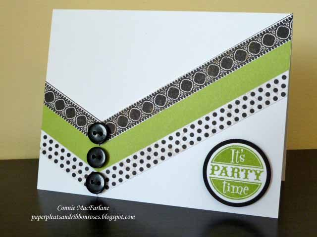 handmade card with washi type ... black and white with bit of chartreuse ... dynamic graphic look ... clean and simple design ... great card